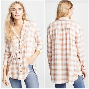 Free People All About Feels Plaid Tunic Top Small